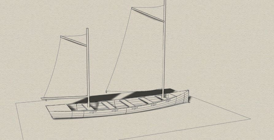 Construction of a 8 meters sailing rowing yole
